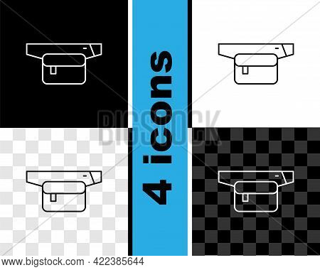 Set Line Waist Bag Of Banana Icon Isolated On Black And White, Transparent Background. Vector