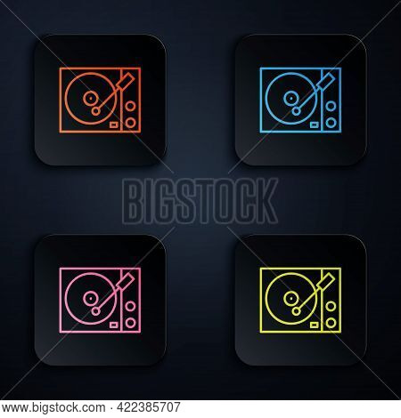 Color Neon Line Vinyl Player With A Vinyl Disk Icon Isolated On Black Background. Set Icons In Squar