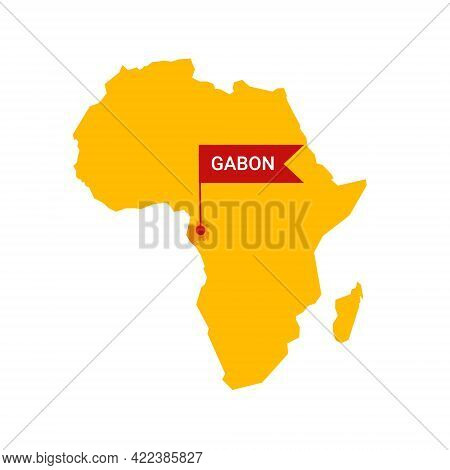 Gabon On An Africa S Map With Word Gabon On A Flag-shaped Marker.