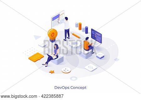Conceptual Template With People Working On Computers, Programming Or Developing Software. Scene For