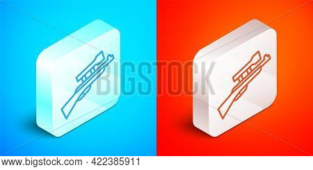 Isometric Line Sniper Rifle With Scope Icon Isolated On Blue And Red Background. Silver Square Butto
