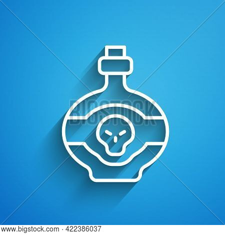 White Line Poison In Bottle Icon Isolated On Blue Background. Bottle Of Poison Or Poisonous Chemical