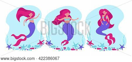 Set Of Bright Mermaids In A Flat Style. The Hero Of Fairy Tales For The Design Of Children's Product