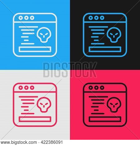 Pop Art Line System Bug Concept Icon Isolated On Color Background. Code Bug Concept. Bug In The Syst