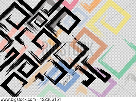 Cute Vector Geometric Seamless Pattern. Brush Strokes, Arrows. Hand Drawn Grunge Texture.