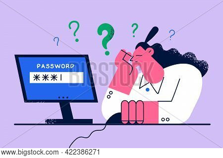 Bad Memory And Working On Computer Concept. Desperate Young Woman Cartoon Character Trying To Log In