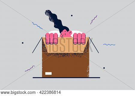 Hiding And Parcel Package Concept. Young Woman Cartoon Character Hiding In Cardboard Box And Trying