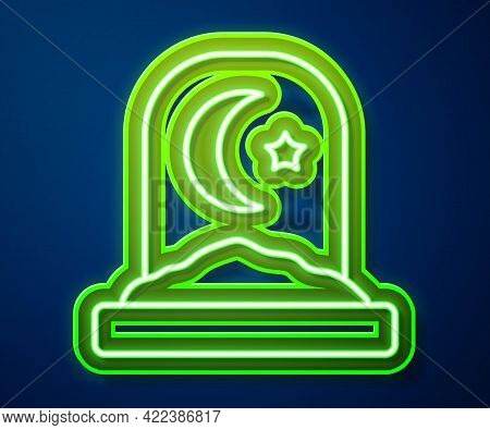 Glowing Neon Line Muslim Cemetery Icon Isolated On Blue Background. Islamic Gravestone. Vector