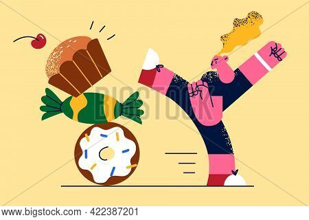 Healthy Eating And Lifestyle Concept. Young Fit Healthy Woman Cartoon Character Standing Fighting Of