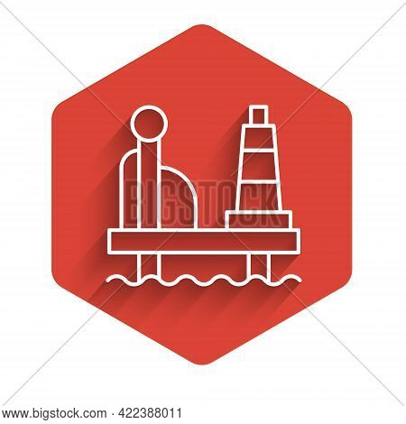 White Line Oil Platform In The Sea Icon Isolated With Long Shadow Background. Drilling Rig At Sea. O
