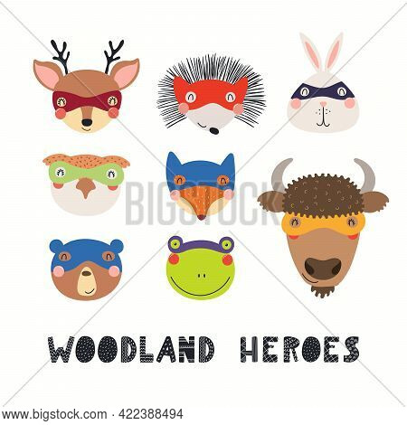 Cute Woodland Animal Superheroes Faces In Masks Collection, Isolated On White. Hand Drawn Vector Ill