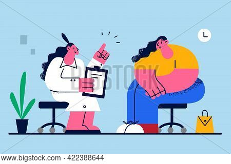 Obesity, Nutrition And Weight Loss Concept. Young Female Doctor Cartoon Character Sitting And Consul