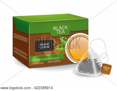 Black Tea Pack In Triangle Bags Infusion. Organic Herbs Vector Realistic Drink. 3d Detailed Illustra