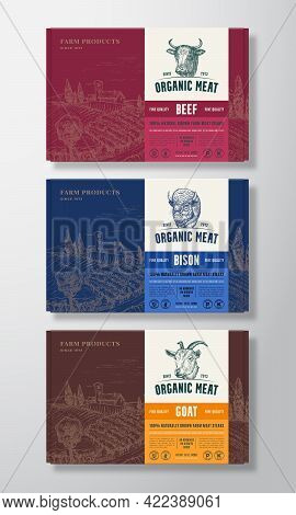 Premium Quality Food Box Mockups. Vector Meat Packaging Label Design On A Cardboard Containers Set.