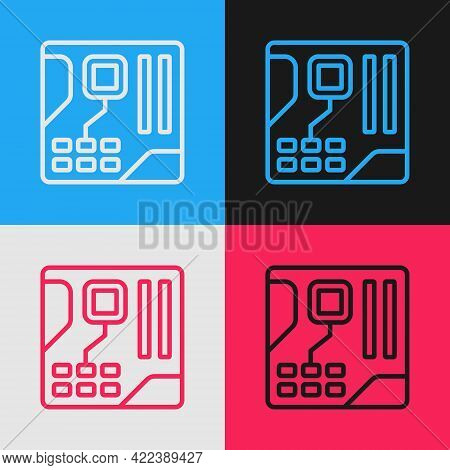 Pop Art Line Electronic Computer Components Motherboard Digital Chip Integrated Science Icon Isolate