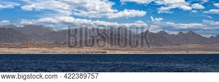 Coast Of The Red Sea With The Sinai Mountains In Egypt. Red Sea Sinai Mountains Sea Panoramic Landsc