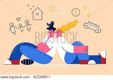 Dreaming Of Living Better Life Concept. Young Happy Smiling Family Couple Cartoon Characters Sitting