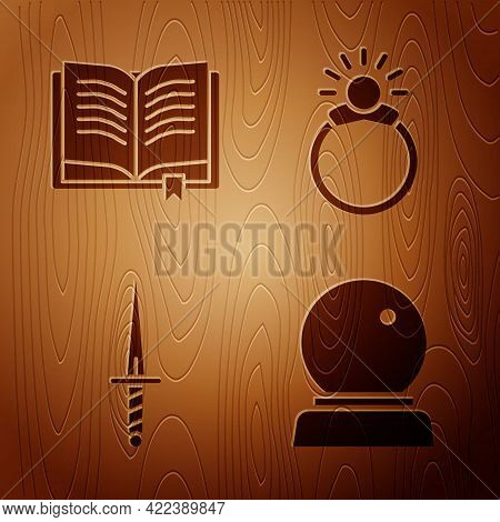 Set Magic Ball, Ancient Magic Book, Dagger And Magic Stone Ring With Gem On Wooden Background. Vecto