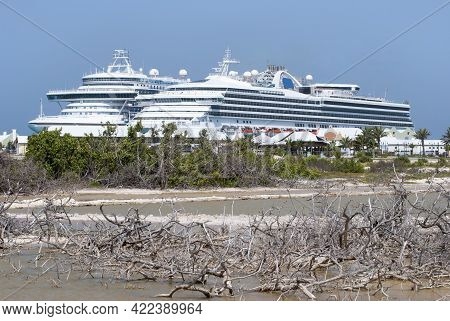 Two Large Moored Cruise Ships As Seen From The Lagoon On Grand Turk Island (turks And Caicos Islands