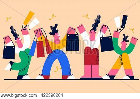 Shopping And Sales In Shop Concept. Smiling Happy Full Family Cartoon Characters Standing Carrying B