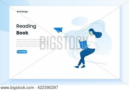 Illustration Of Landing Page Of A Woman Reading A Book