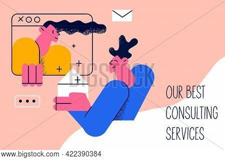 Our Best Consulting Services Concept. Positive Young Man Cartoon Character Getting Advise And Consul