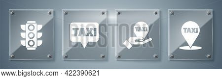 Set Map Pointer With Taxi, Hand On Map Pointer With Taxi, Map Pointer With Taxi And Traffic Light. S