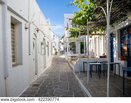 Greece, Sifnos Island. Traditional Whitewashed Buildings At Apollonia,