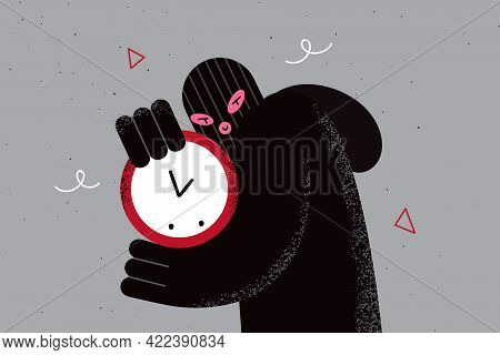 Robbery And Criminal Work Concept. Portrait Of Sneaky Robber Cartoon Character In Black Balaclava An