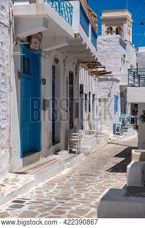 Greece, Kimolos Island. Traditional Whitewashed Buildings At Chora.