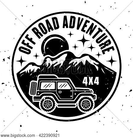 Off-road Car Side View And Mountains Vector Round Monochrome Vintage Emblem Isolated On White Backgr
