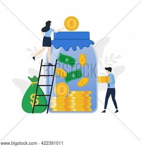 Modern Flat Save Money Illustration Concept