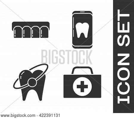 Set First Aid Kit, Dentures Model, Tooth Whitening Concept And Online Dental Care Icon. Vector