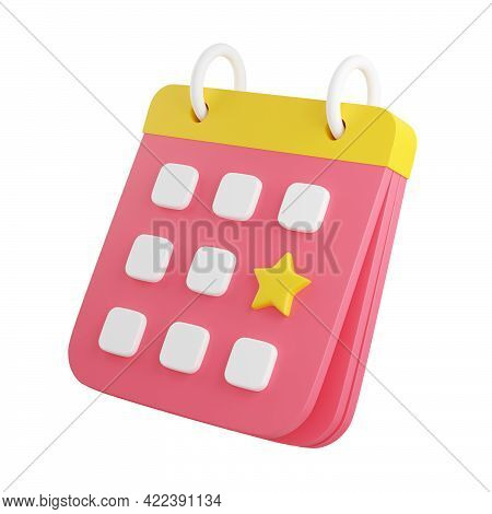 Calendar With Marked Date 3d Render Illustration. Pink Organizer With Noted With Star Day.