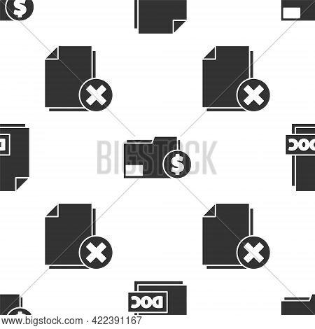 Set Doc File Document, Finance Document Folder And Delete File Document On Seamless Pattern. Vector