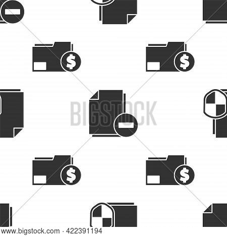 Set Document Protection Concept, Document With Minus And Finance Document Folder On Seamless Pattern