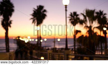 People Walking, Wooden Pier In California Usa. Oceanside Waterfront Vacations Tourist Resort. Ocean