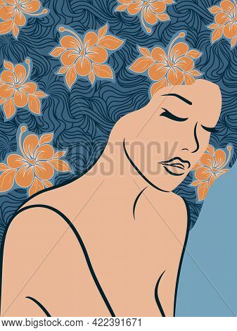 Charming And Beautiful Woman With Closed Eyes And Floral Hair In Mute Blue And Orange Hues