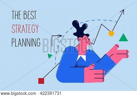 Best Strategy Planning In Business Concept. Positive Woman Worker Manager Cartoon Character Sitting