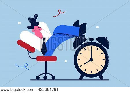 Stress Free Time Management Concept. Happy Young Businessman Cartoon Character Sitting Relaxing In O