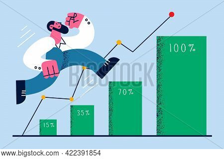 Development And Success In Business Concept. Young Smiling Businessman Cartoon Character Walking On