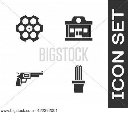 Set Cactus Peyote In Pot, Revolver Cylinder, Gun And Wild West Saloon Icon. Vector