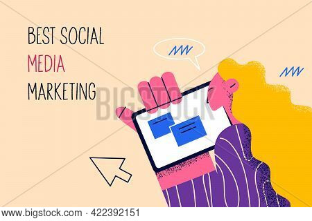 Best Social Media Marketing Concept. Human Hand And Woman Cartoon Character Looking At Tablet Screen