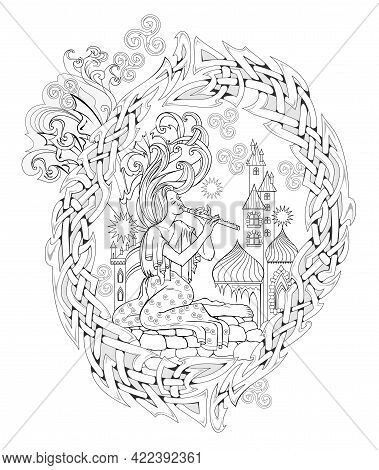 Black And White Page For Coloring Book. Fantasy Fairy Playing The Flute. Ancient Legend Illustration