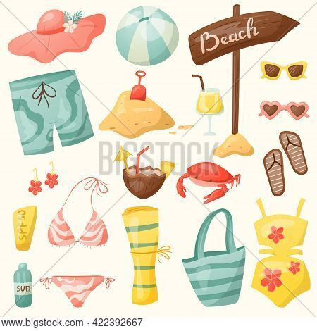 Set Of Cartoon Vector Summer Icons. Elements Of Sea And Beach Vacation, Items For Swimming And Sunba