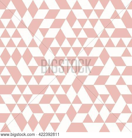 Geometric Vector Pattern With Pink Triangles. Geometric Modern Ornament. Seamless Abstract Backgroun