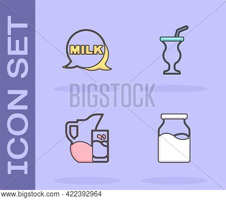 Set Bottle With Milk, Lettering, Milk Jug Or Pitcher And Glass And Milkshake Icon. Vector