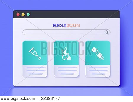 Set Woman In Wheelchair, Crutch Or Crutches And Prosthesis Hand Icon. Vector