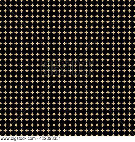 Seamless Geometric Vector Pattern. Modern Ornament With Golden Stars. Geometric Abstract Golden Patt