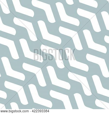 Geometric Vector Pattern With Light Blue And White Arrows. Geometric Modern Ornament. Seamless Abstr